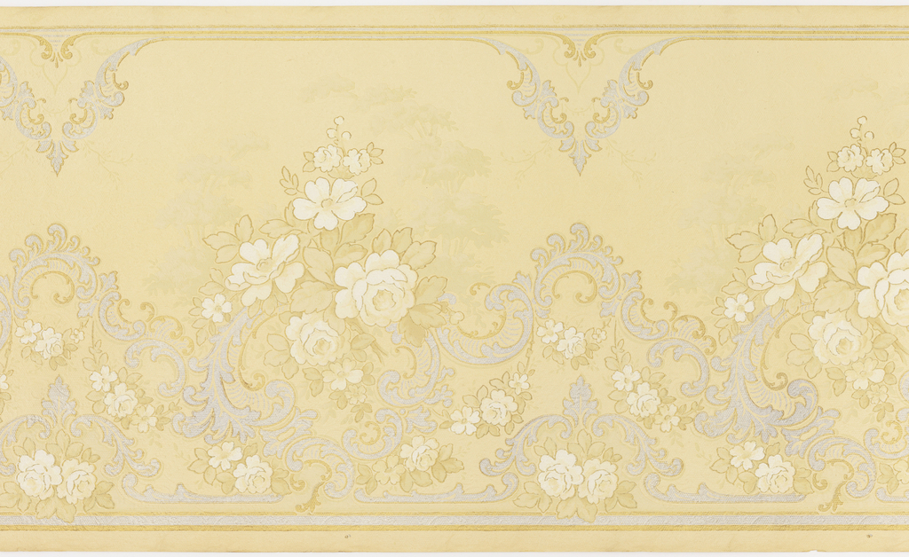 Floral bouquets and foliate scrolls in Rococo style. Printed on embossed paper.