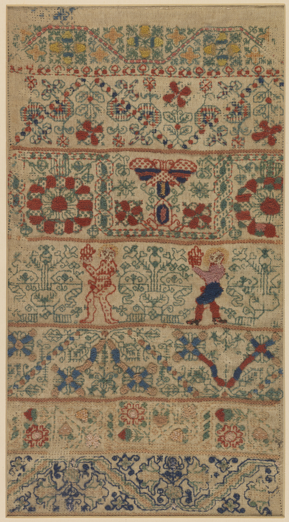 Rectangular sampler of highly stylized floral vine pattern bands, worked in brightly colored wools on a linen ground. One of the bands has two male figures.