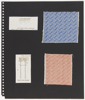 Two textile samples, one piece graph paper on perforated paper. At top left, graph paper with handwritten illustration of  weaving sequence. At bottom: Ida W. Beck. Typed in ink: GONE WITH THE WIND / BLUE SAMPLE WOVEN AS DRAWN IN Top right,  plain weave textile showing blue and white pattern of cloud forms with diagonal lines and circles. At bottom, textile with same pattern as above, in rust.