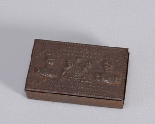 "Rectangular, snuff box style container, featuring raised decoration of Queen Victoria and Prince Albert, their names inscribed above each respectively, royal coat-of-arms between them, inscribed above all ""J.Hynam's Royal Patent Congreves,"" inscribed below ""& Safety Fire Boxes, 5 & 7 Princes Sq. Wilson St., Finsbury London."" Lid hinged on back, long side. Striker on same side."