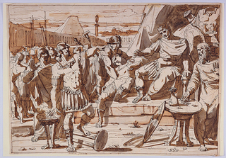 In an enormous courtyard, Mucius, in left foreground, thrusts his right hand into the flame of a brazier, while pointing with his left at Porsena who sits upon a throne. The stabbed officer, supported by a soldier, lies beside him, while a group of soldiers stands to the left, and the king's treasurer stands a table at right foreground.