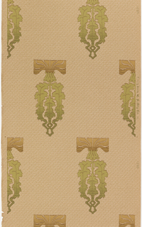 Repeating motif of a very stylized flower. The flower has the appearance of a thistle, in a very rectangular format. Printed in green and tan on a tan ground.