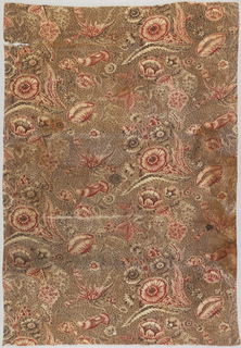 Textile with half drop repeat of scattered flowers and thorny branches with a bird and a butterfly in red and brown on a dotted and speckled background.