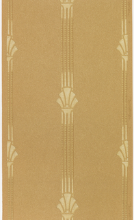 Medallion stripe design. Palmette-like motif on a four-band stripe. Printed in tan and off-white on brown oatmeal paper. Mission style design