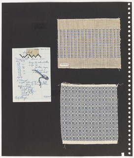 Two textiles, one piece graph paper on perforated paper. At left, graph paper with handwritten notes, pinned yarn samples. Written in blue ink: Day Break; at bottom Emily Lalmage (?) / Oct 1958. Top sample of woven blue and cream rayon chiffon; printed tag at bottom left with Cooper Hewitt accession number. Bottom sample of blue and white woven linen in argyle pattern.