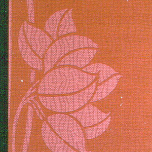 Diaper or foliate stripe design containing vining foliage printed in red on red ground. Half the background is printed in deep red with the foliate pattern revealed in the void, while on the other half the design is printed in deep red on a textile-patterned light red ground.