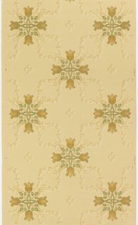 Quatrefoil motif created by four stylized tulips and foliage, connected to other quatrefoils by floral swags or wreaths. Printed in tan, brown, and green on honeycomb-patterned tan background.