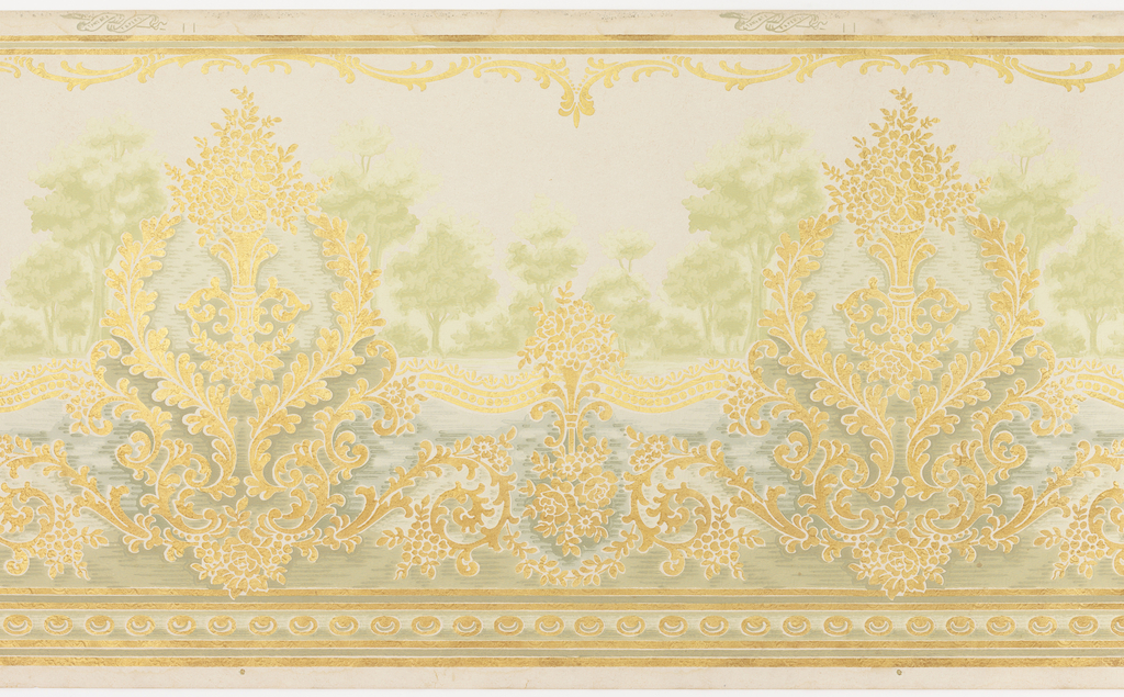 Overall embossed.  Foreground of flowers connected by floral swags with beading. Foreground color of metallic gold.  Landscape background of trees and a river.  Background colors of shades of green and shades of blue.