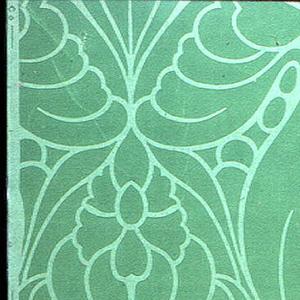 Allover large anthemion motifs in light green outline on dark green ground.