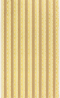 Vertical stripes in brown and gold beads on gray ground.