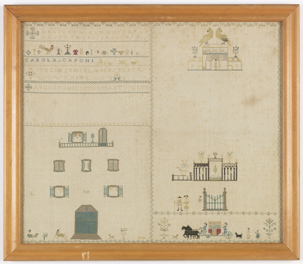 Sampler worked in very fine cross stitch in black, brown, blue, green, yellow and red silk on a white linen ground.  Composed in two sections: on the left, bands of alphabets and spot motifs, various doors and windows.  On the right a house with very large birds perched on top, a garden vista, a gate with a key, a carriage with horses, and various figures of people and dogs. All separated by fine running vine borders.
