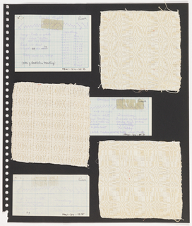 Three textile samples, three pieces paper on perforated paper. At top left, paper handwritten with weaving sequence: Bomber Flight. At top right, plain weave textile in cream and white with star of Bethlehem treadling. At center and bottom, samples and instructions for Bomber Flight in varying scale.