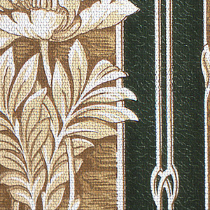 Floral stripe design. Single poppy flower with foliage on long stem. Flowers printed against a textured brown stripe, alternating with a black stripe.