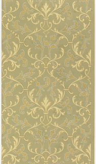 Arbesque design of ogival acanthus, forming fleur de lis-like motif in center. Darker yellow ocher foliage outlined in metallic silver, while lighter foliage is outlined in metallic gold. Printed on olive green ground.