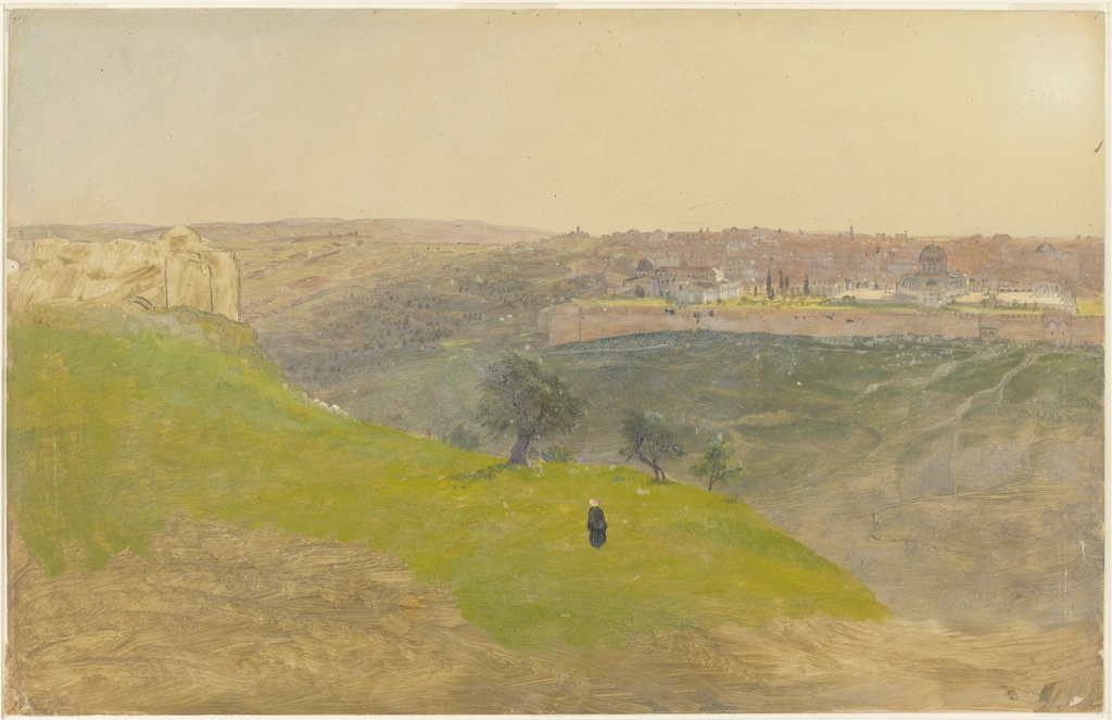 The city of Jerusalem is shown at right in the distance. A solitary figure stands facing the city at center. Monuments at left.