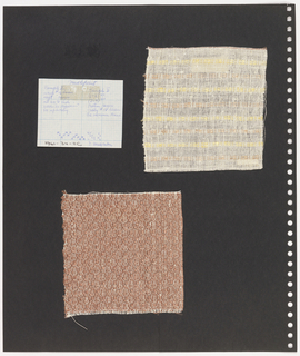 Textile samples, graph paper on perforated paper. At top left, graph paper with handwritten illustration of  weaving sequence. At right, plain weave textile with yellow, cream and orange pattern of horizontal stripes. Bottom left, plain weave textile of orange and white showing diamond pattern.