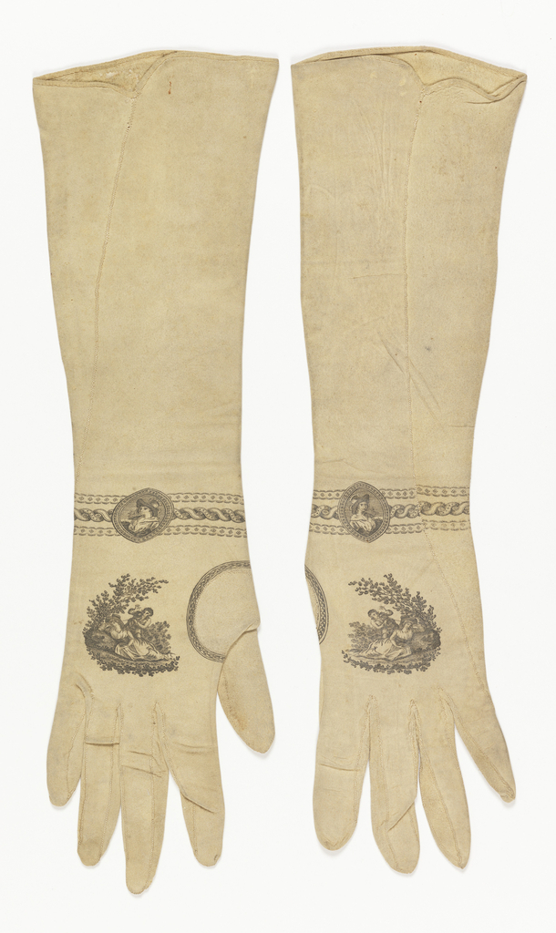 "Woman's long suede gloves printed in black ink. Small band of leaves around thumb piece; a country scene with boy and girl on back of hand; and, at the wrist, three bands with medallion showing boy's head. Inside right glove is a mark, now indecipherable except for the ""patent"" and what appears to be a crowned shield with coat of arms supported by a lion and a unicorn."