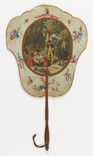 "Handscreen with paper leaf and turned wood handle. Obverse: oval medallion with a hand-colored engraved scene of a barrister and four other figures with a basket of flowers in the forest, surrounded by a framework of hand-painted motifs. Reverse: dialogue from the comic opera ""Les Solitaires de Normandie."""