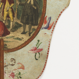 """Handscreen with paper leaf and turned wood handle. Obverse: oval medallion with a hand-colored engraved scene of a barrister and four other figures with a basket of flowers in the forest, surrounded by a framework of hand-painted motifs. Reverse: dialogue from the comic opera """"Les Solitaires de Normandie."""""""