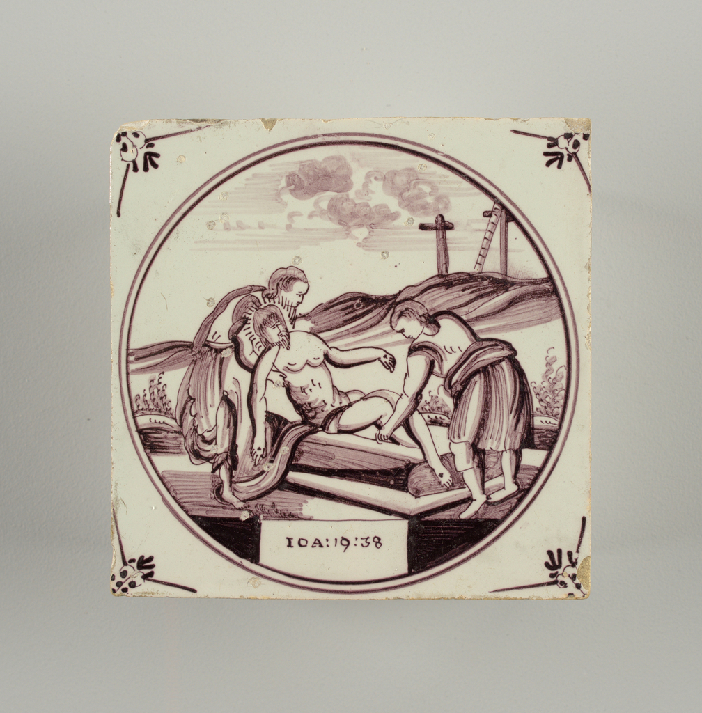 Square tile with decoration in roundel, in manganese purple, of the Entombment; small floral motifs in spandrels.