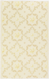 Trellis or grid pattern composed of foliate scrolls and floral sprigs. A floral bouquet, a sprig, or petite quatrefoil is cented in each grid. Printed in metallic gold, tan and yellow on tan ground.