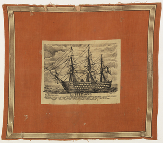 "Red cotton handkerchief printed with a striped border and central picture of a battleship printed in brown on cream. Under the ship is the caption: ""La Bretagne"". Both selvages present"