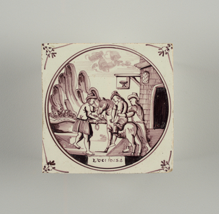 Square tile with decoration in roundel, in manganese purple, of the Good Samaritan; small floral motifs in spandrels.