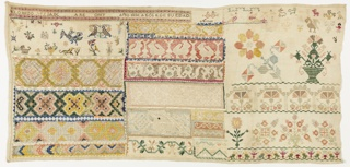 Three columns of geometric and pattern bands in many colors, with spot motifs including birds.
