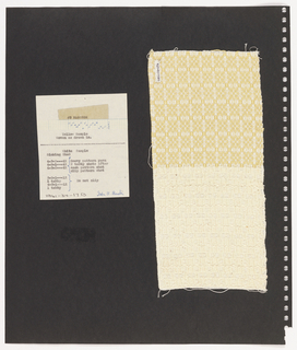Two textile samples, paper on perforated paper. At top left, paper handwritten with weaving sequences Cheerio and Sinking Shed. At right, plain weave textile in cream and yellow with grid pattern. At  bottom, plain weave textile in cream.