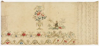 Oblong sampler worked in browns, blues, greens, yellows, red, pink, and white silk on a white linen ground.  At the left edge, a small panel of withdrawn element work.  At the right end, vertical bands of whitework floral borders in satin and stem stitches. In the center, colored silk work in satin stitch of an urn of flowers, a bird with a garland in its beak, a monkey feeding a bird, and flower and vine borders.