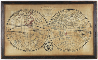 "Two hemispheres containing maps of the world with a medallion at top reading ""A new map of the world with the late discoveries in the southern seas worked by Eliza Thompson 1796.""  At bottom is a compass.  Continents are outlined with chenille thread."