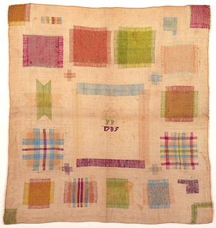 """Square sampler with stitching in violet, pale blue, lime green, fuschia and yellow on a cream-colored linen ground. Eighteen crosses and four darned corners demonstrate different repairs in different weave structures. Large square in center was removed and darned back. Additionally, one corner square was cut out and then darned back into the fabric. The eighteen crosses and other three corners were cut away, then the fabric was rebuilt by darning or """"needle weaving."""""""