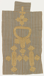 Embroidered sample for a tunic front in light brown and blue striped cotton, pieced together from four narrow strips. The neck opening is indicated, and the front is embroidered with interlacing patterns in gold-colored rayon.