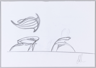 Drawing, Preparatory Sketch for Enignum Free Form Chair