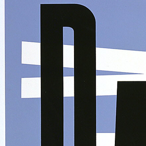Staggered block letters on blue background: horizontally-arranged: DADA, printed in black, superimposed on vertically-arranged white letters: DADA.