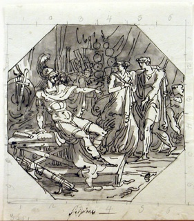 Sitting at left in his tent, he dismisses Spanish girl and her fiancé Allucius, who had been held hostages at Carthage. Marching Roman soldiers shown in background.