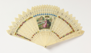 """Fan case with removable lid. Reversible """"four-way"""" brisé fan with figural scenes painted in gouache. Sticks of drilled and painted bone."""