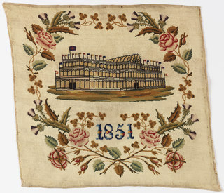 Design of the Crystal Palace and the date 1851 set in crossed sprays composed of roses, thistles, leeks and shamrocks. Design and ground worked in tent stitch.