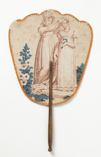 Handscreen with a hand painted paper leaf with border of dagged orange paper. Obverse: woman with bonnet placing flowers on the head of a second woman. Reverse: seated woman in landscape, in shades of blue. Turned wood handle.