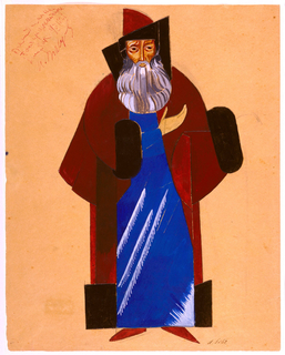 Russian Constructivist-style costume design of grey-bearded old man in long blue robe and maroon coat and hat with black (fur?) trim. One up-turned hand is raised across figure's chest.