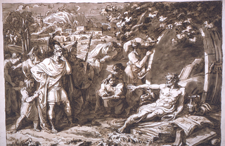 Landscape drawing with figures. Diogenes sitting in far right foreground in front of barrel-shaped structure, surrounded by books and pupils; Alexander stands at left foreground with a group of followers; Athens is shown in the background.